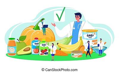 vegetable., naturale, dottore, illustration., bambino, controllo, esame, fresco, saporito, prodotto, cibo, confermare, vettore, approvato