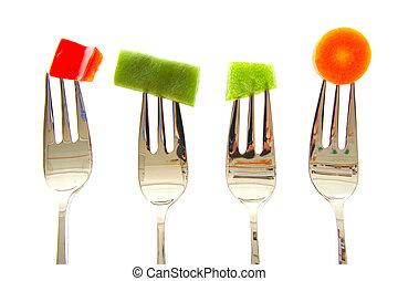 vegetables., pepe, isolato, fondo., carota, fagioli verdi, forche, bianco rosso