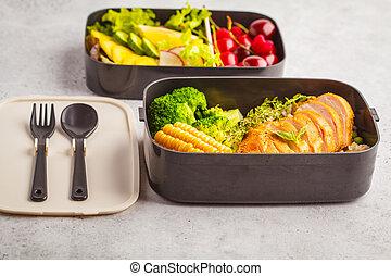 vegetables., sano, cibo., bacche, cotto ferri, takeaway, frutte, pollo, riso, preparazione, contenitori, pasto