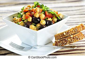 vegetariano, cece, insalata