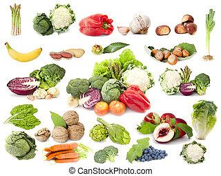 vegetariano, frutta, dieta, collezione, verdura