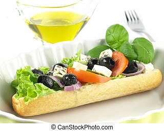 vegetariano, panino, guarnito