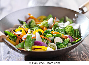 vegetariano, tumulto frigge, wok