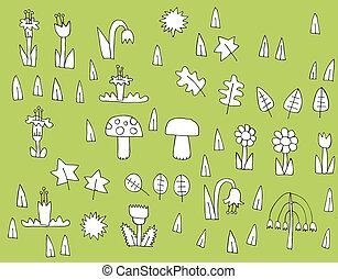 vegetazione, nero, collezione, cartone animato, bianco