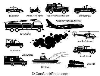 veicoli, icona, emergenza, elenco, set., risposta