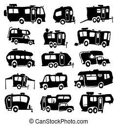 veicoli, ricreativo, icone