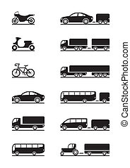veicoli, strada, icone