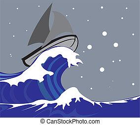 vela, -, barca, sud, croce