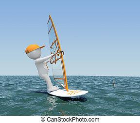 vela bianca, asse, uomo, 3d