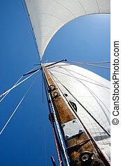 vela, ponte, legno, albero, vecchio, bianco, barca, vista