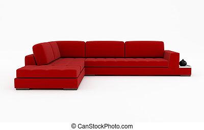 velluto, -, isolato, divano, interpretazione, bianco rosso