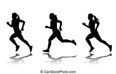 velocista, silhouette, femmina