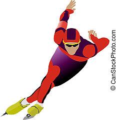 velocità, illustrazione, skating., vettore