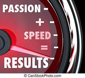 velocità, uguaglia, risultati, più, parole, passione, tachimetro