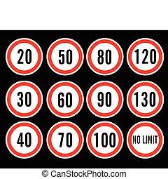 velocità, vettore, limite, segni