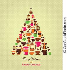 vendemmia, albero caffè, natale, icone