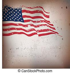 vendemmia, americano, textured, bandiera, fondo.