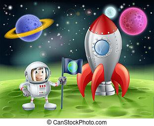 vendemmia, astronauta, cartone animato, razzo