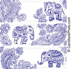 vendemmia, bandiere, set, etnico, elefanti