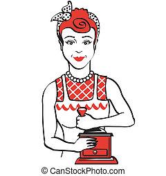 vendemmia, caffè, donna, 1950s, rettifica