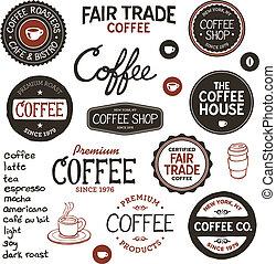 vendemmia, caffè, etichette, iscrizione