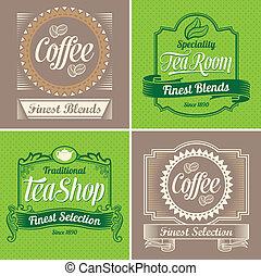 vendemmia, caffè, etichette, tè