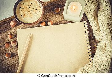 vendemmia, caffè, quaderno, matita, candela