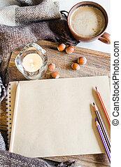 vendemmia, caffè, quaderno, matite, candela