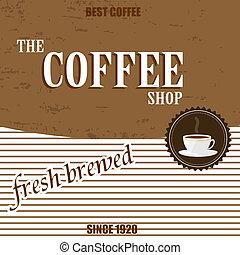 vendemmia, caffè, retro, fondo