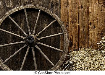 vendemmia, carrello, ruota, legno