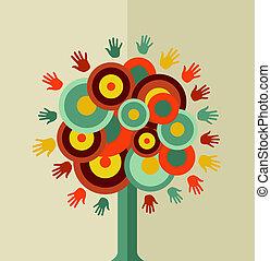 vendemmia, cerchio, albero, colorito, mano