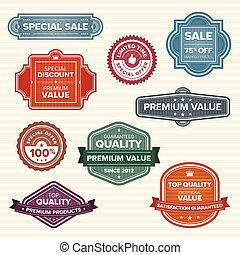 vendemmia, colori, etichette, vario, retro