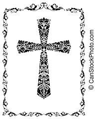 vendemmia, croce, (black, decorazione, white), floreale