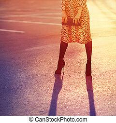vendemmia, donna, moda, foto, leopardo, luce, colori, sera, proposta, frizione, borsetta, tramonto, vestire