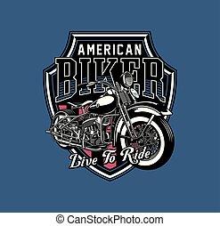 vendemmia, emblema, motocicletta