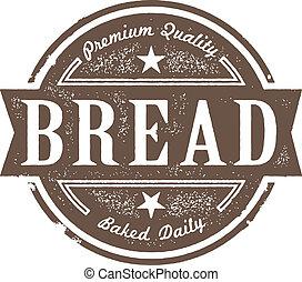 vendemmia, etichetta, cotto, pane fresco