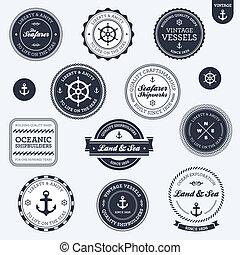 vendemmia, etichette, nautico