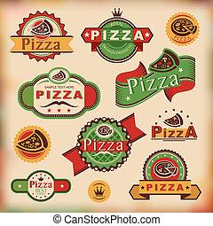 vendemmia, etichette, pizza