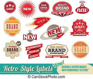 vendemmia, etichette, retro, etichette