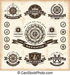 vendemmia, etichette, set, nautico