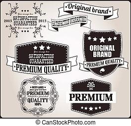 vendemmia, etichette, set, retro