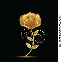 vendemmia, fiore, disegno, oro