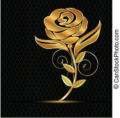 vendemmia, fiore, oro, icona