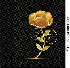 vendemmia, fiore, oro, logotipo