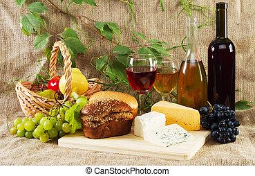 vendemmia, fondo, uva, vino