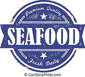 vendemmia, frutti mare, fresco, etichetta