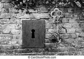 vendemmia, gigante, buco serratura, chiave