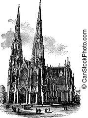 vendemmia, illustrazione, armagh, santo, irlanda, cattedrale, inciso, patrick's