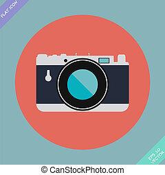 vendemmia, -, illustrazione, vettore, macchina fotografica, icona