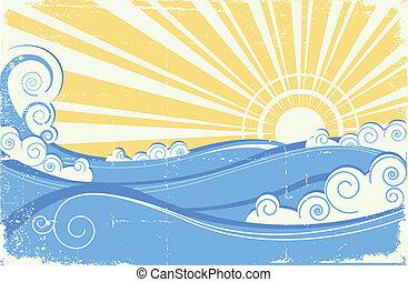 vendemmia, illustrazione, vettore, waves., mare, sole, paesaggio